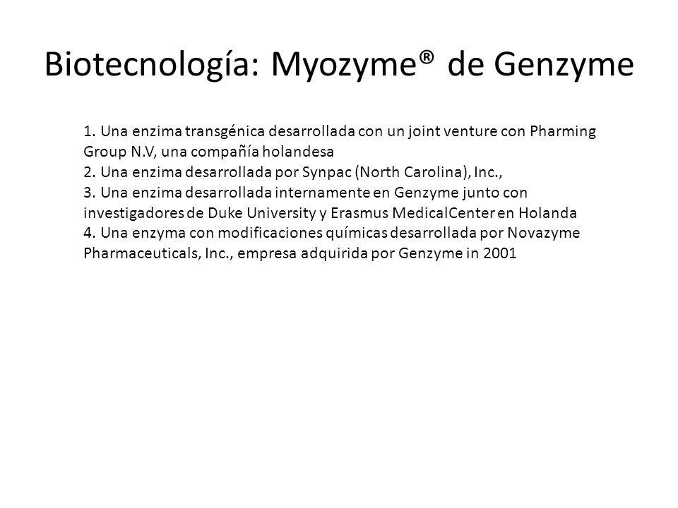 Biotecnología: Myozyme® de Genzyme 1. Una enzima transgénica desarrollada con un joint venture con Pharming Group N.V, una compañía holandesa 2. Una e