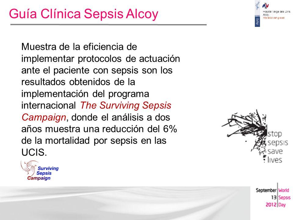 Hospital Verge dels Lliris. Alcoy. http//alcoi.san.gva.es Guía Clínica Sepsis Alcoy Muestra de la eficiencia de implementar protocolos de actuación an
