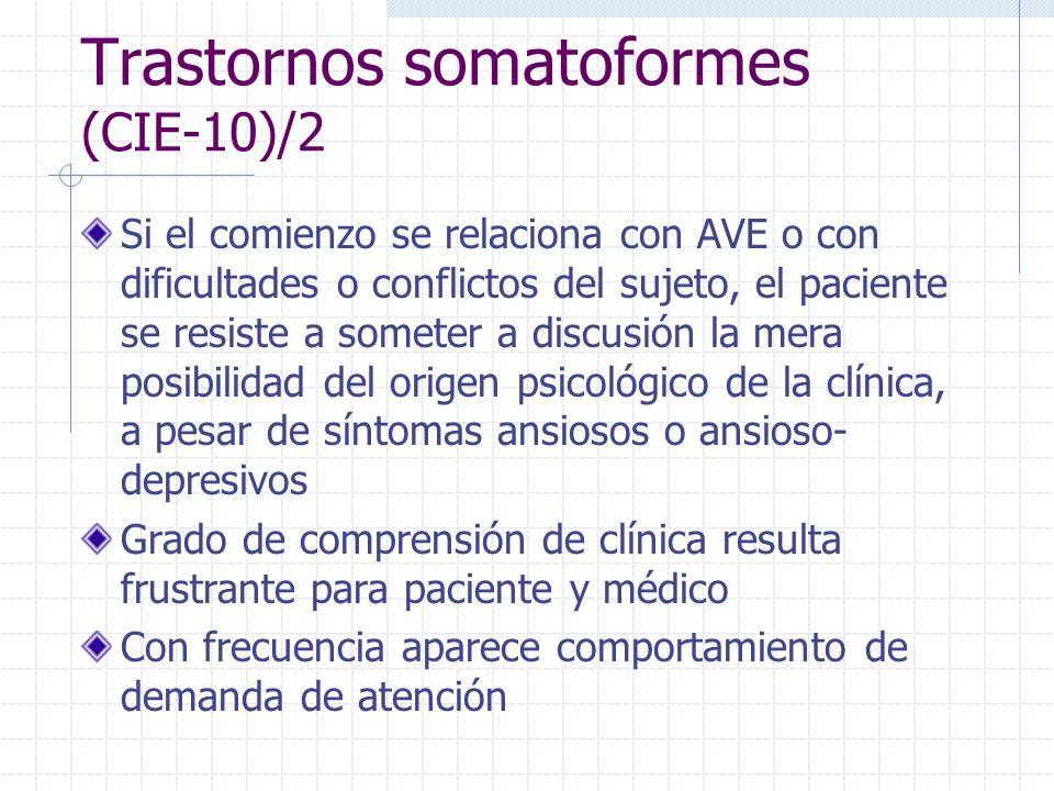 Trastornos somatoformes (CIE-10)/2 Si el comienzo se relaciona con AVE o con dificultades o conflictos del sujeto, el paciente se resiste a someter a