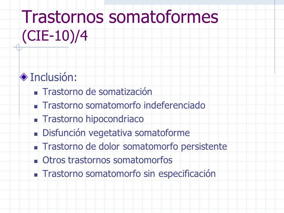 Trastornos somatoformes (CIE-10)/4 Inclusión: Trastorno de somatización Trastorno somatomorfo indeferenciado Trastorno hipocondriaco Disfunción vegeta
