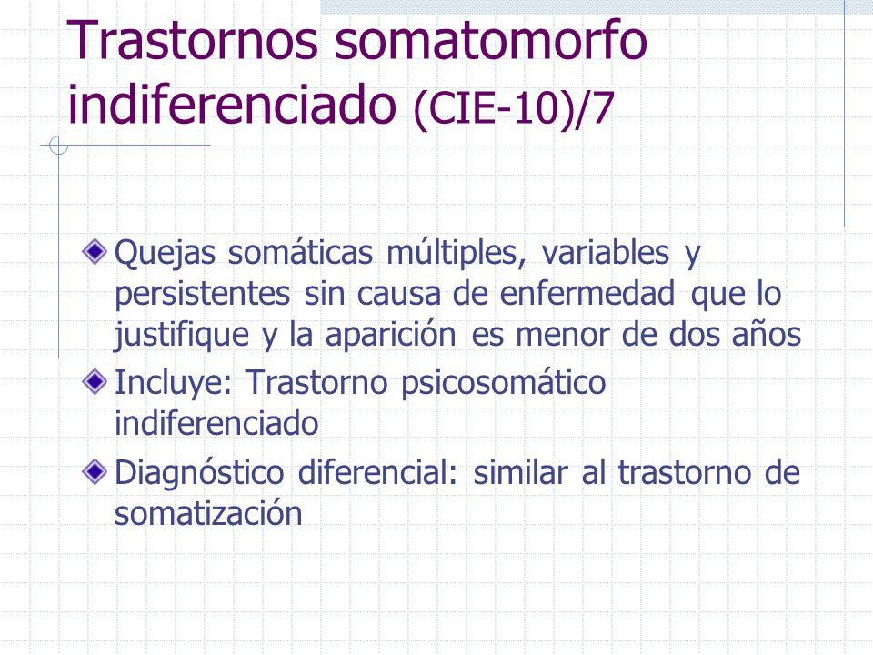 Trastornos somatomorfo indiferenciado (CIE-10)/7 Quejas somáticas múltiples, variables y persistentes sin causa de enfermedad que lo justifique y la a