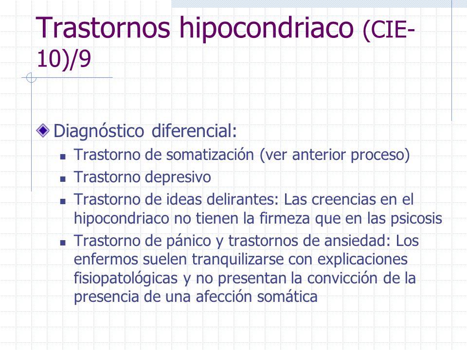 Trastornos hipocondriaco (CIE- 10)/9 Diagnóstico diferencial: Trastorno de somatización (ver anterior proceso) Trastorno depresivo Trastorno de ideas