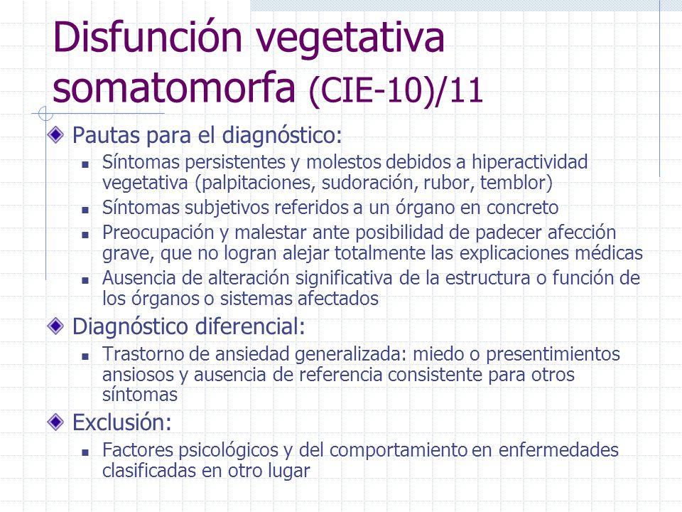 Disfunción vegetativa somatomorfa (CIE-10)/11 Pautas para el diagnóstico: Síntomas persistentes y molestos debidos a hiperactividad vegetativa (palpit