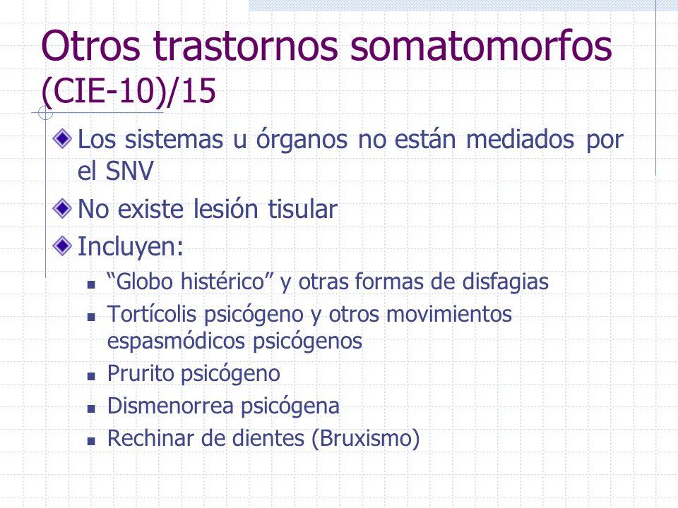 Otros trastornos somatomorfos (CIE-10)/15 Los sistemas u órganos no están mediados por el SNV No existe lesión tisular Incluyen: Globo histérico y otr