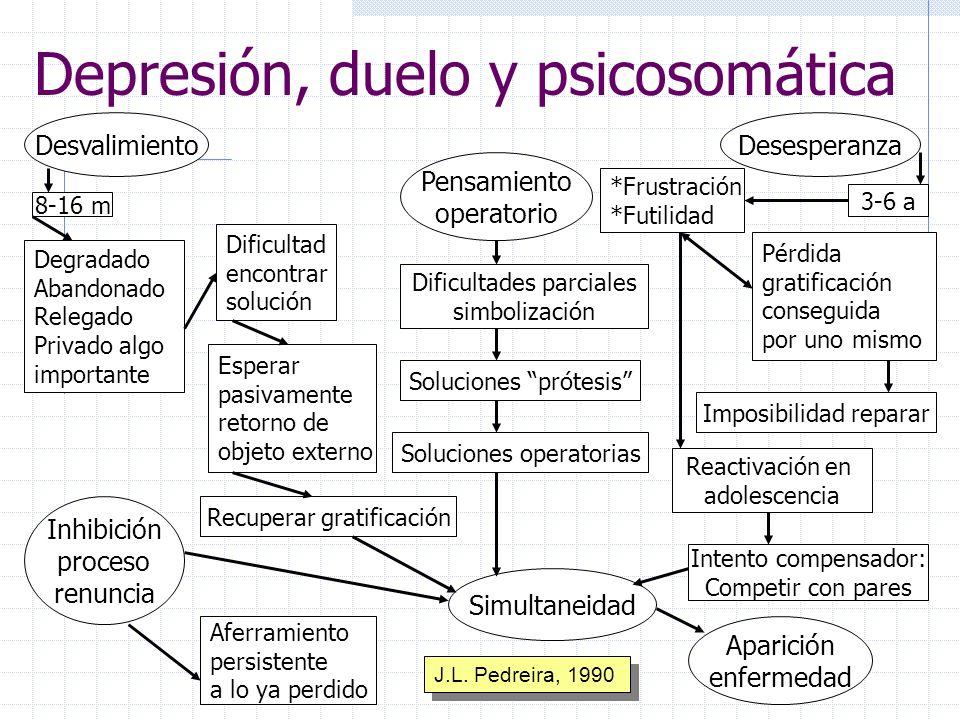 Depresión, duelo y psicosomática Desvalimiento Pensamiento operatorio Desesperanza Inhibición proceso renuncia Simultaneidad Aparición enfermedad Difi