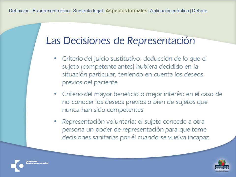 Criterio del juicio sustitutivo: deducción de lo que el sujeto (competente antes) hubiera decidido en la situación particular, teniendo en cuenta los