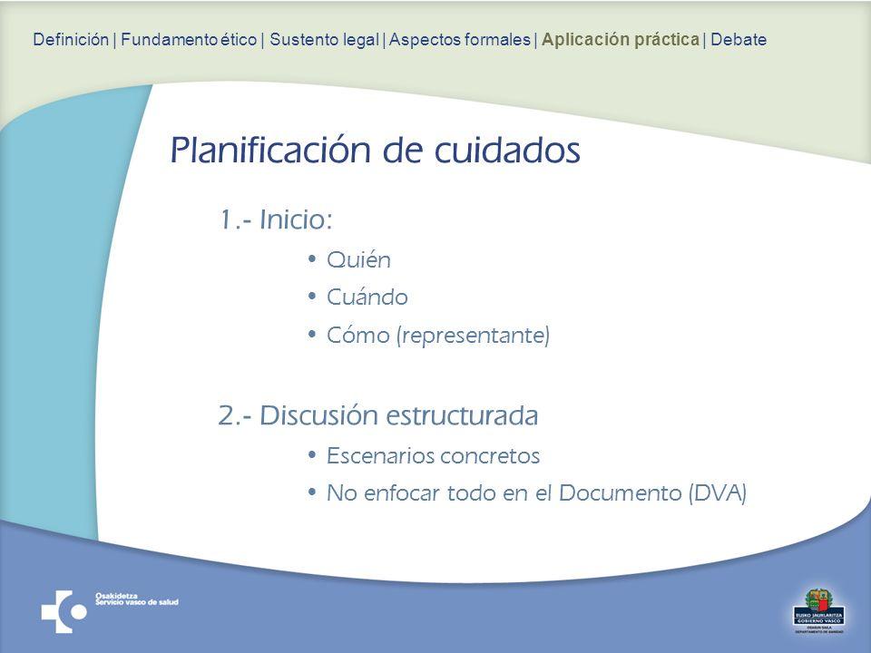 1.- Inicio: Quién Cuándo Cómo (representante) 2.- Discusión estructurada Escenarios concretos No enfocar todo en el Documento (DVA) Definición | Fundamento ético | Sustento legal | Aspectos formales | Aplicación práctica | Debate Planificación de cuidados