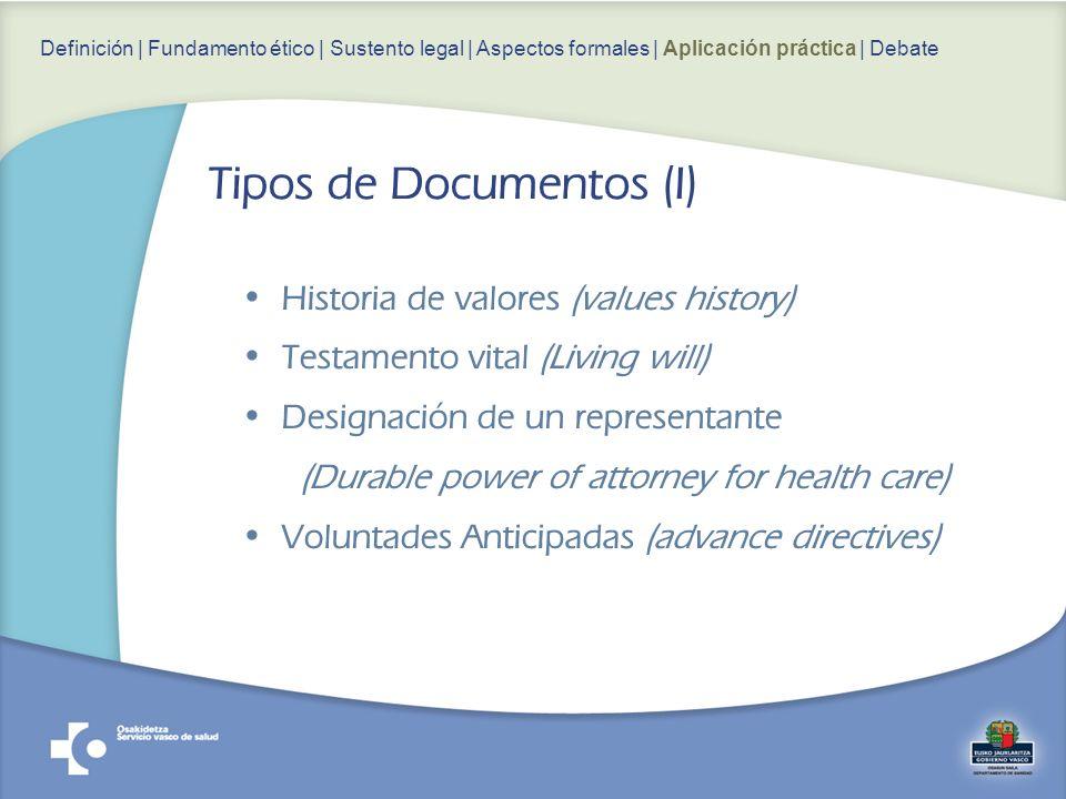 Historia de valores (values history) Testamento vital (Living will) Designación de un representante (Durable power of attorney for health care) Volunt