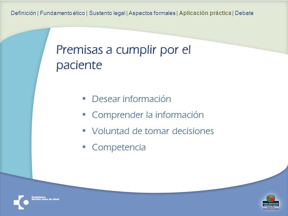 Desear información Comprender la información Voluntad de tomar decisiones Competencia Definición | Fundamento ético | Sustento legal | Aspectos formales | Aplicación práctica | Debate Premisas a cumplir por el paciente