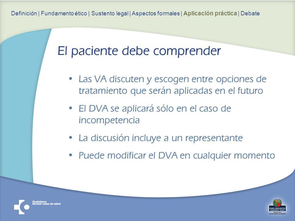 Las VA discuten y escogen entre opciones de tratamiento que serán aplicadas en el futuro El DVA se aplicará sólo en el caso de incompetencia La discusión incluye a un representante Puede modificar el DVA en cualquier momento Definición | Fundamento ético | Sustento legal | Aspectos formales | Aplicación práctica | Debate El paciente debe comprender