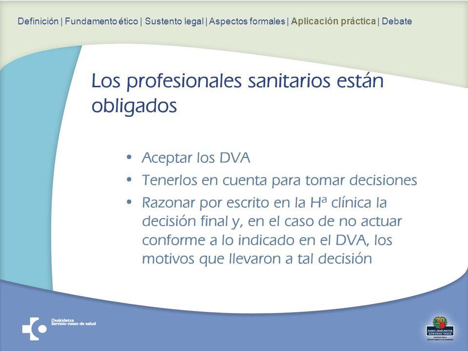 Aceptar los DVA Tenerlos en cuenta para tomar decisiones Razonar por escrito en la Hª clínica la decisión final y, en el caso de no actuar conforme a