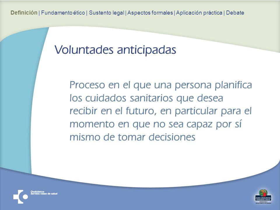 Proceso en el que una persona planifica los cuidados sanitarios que desea recibir en el futuro, en particular para el momento en que no sea capaz por sí mismo de tomar decisiones Voluntades anticipadas Definición | Fundamento ético | Sustento legal | Aspectos formales | Aplicación práctica | Debate