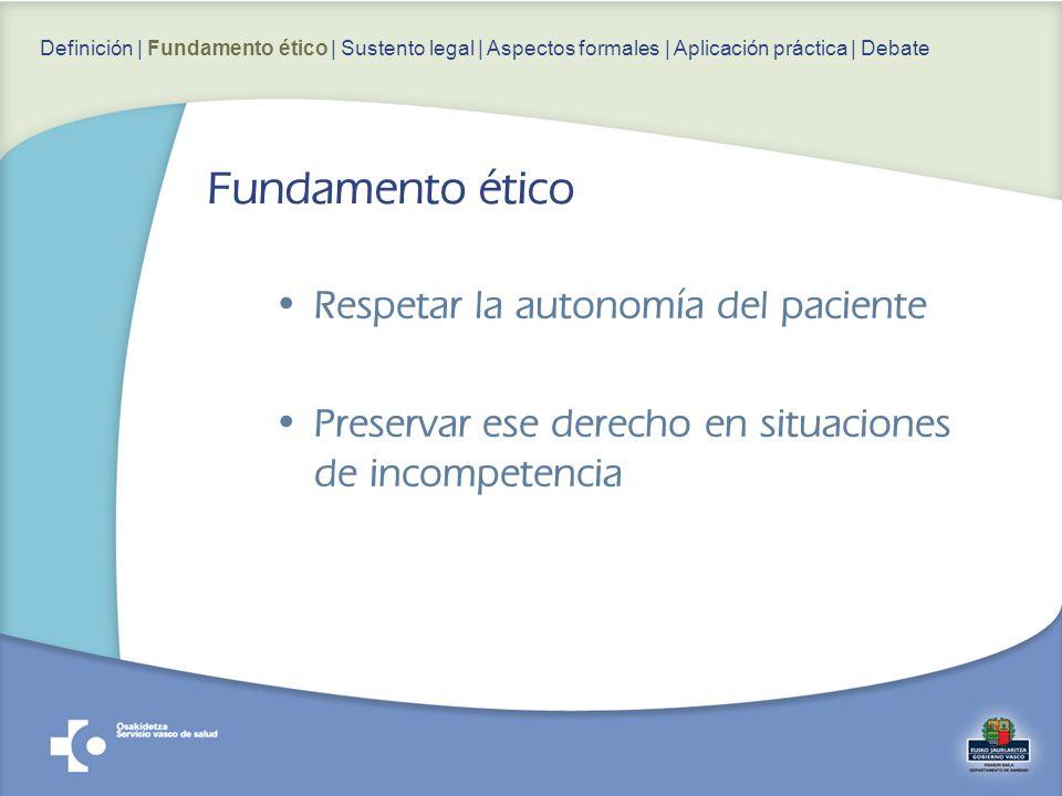 Respetar la autonomía del paciente Preservar ese derecho en situaciones de incompetencia Definición | Fundamento ético | Sustento legal | Aspectos formales | Aplicación práctica | Debate Fundamento ético