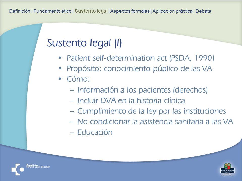 Patient self-determination act (PSDA, 1990) Propósito: conocimiento público de las VA Cómo: –Información a los pacientes (derechos) –Incluir DVA en la historia clínica –Cumplimiento de la ley por las instituciones –No condicionar la asistencia sanitaria a las VA –Educación Definición | Fundamento ético | Sustento legal | Aspectos formales | Aplicación práctica | Debate Sustento legal (I)