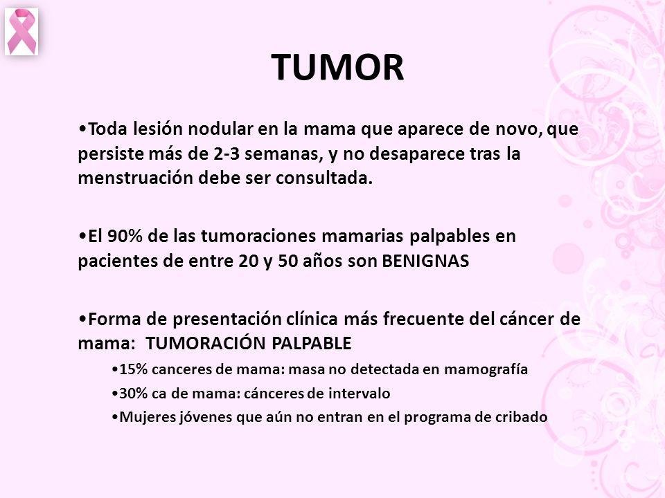 TUMOR Toda lesión nodular en la mama que aparece de novo, que persiste más de 2-3 semanas, y no desaparece tras la menstruación debe ser consultada. E