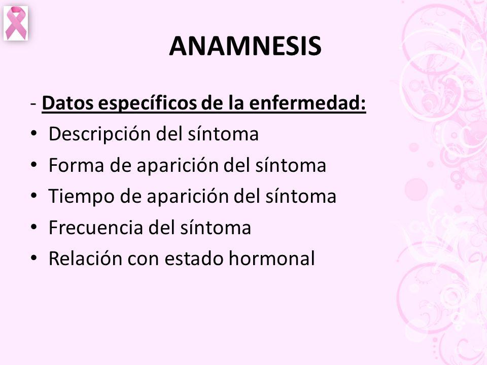 ANAMNESIS - Datos específicos de la enfermedad: Descripción del síntoma Forma de aparición del síntoma Tiempo de aparición del síntoma Frecuencia del