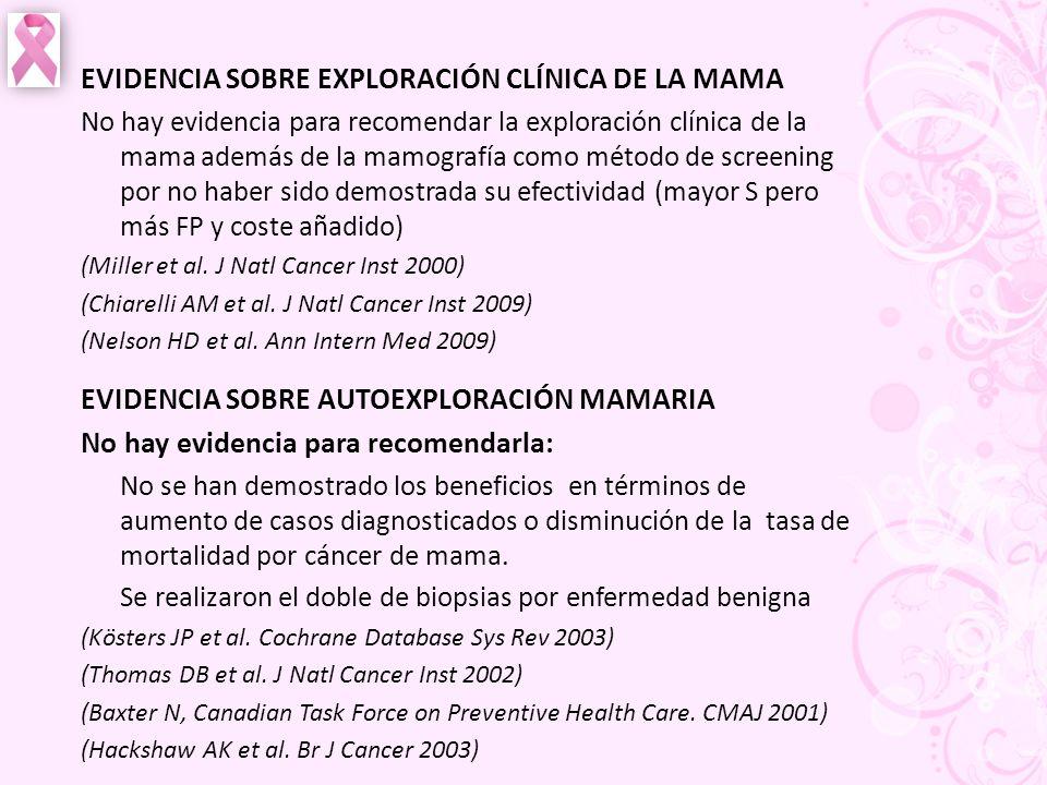 EVIDENCIA SOBRE EXPLORACIÓN CLÍNICA DE LA MAMA No hay evidencia para recomendar la exploración clínica de la mama además de la mamografía como método
