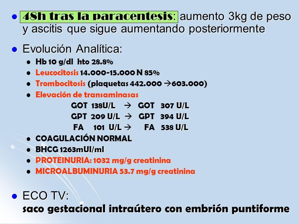 48h tras la paracentesis : aumento 3kg de peso y ascitis que sigue aumentando posteriormente 48h tras la paracentesis : aumento 3kg de peso y ascitis