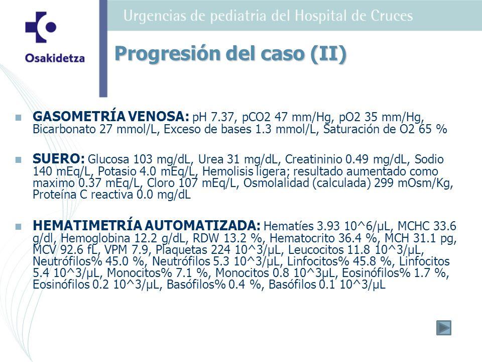 GASOMETRÍA VENOSA: pH 7.37, pCO2 47 mm/Hg, pO2 35 mm/Hg, Bicarbonato 27 mmol/L, Exceso de bases 1.3 mmol/L, Saturación de O2 65 % SUERO: Glucosa 103 m