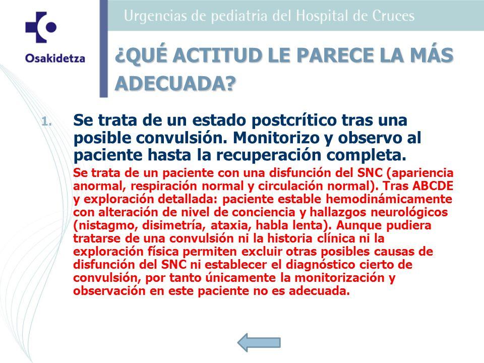 1. 1. Se trata de un estado postcrítico tras una posible convulsión. Monitorizo y observo al paciente hasta la recuperación completa. Se trata de un p