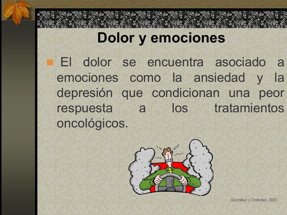 Dolor y emociones El dolor se encuentra asociado a emociones como la ansiedad y la depresión que condicionan una peor respuesta a los tratamientos oncológicos.