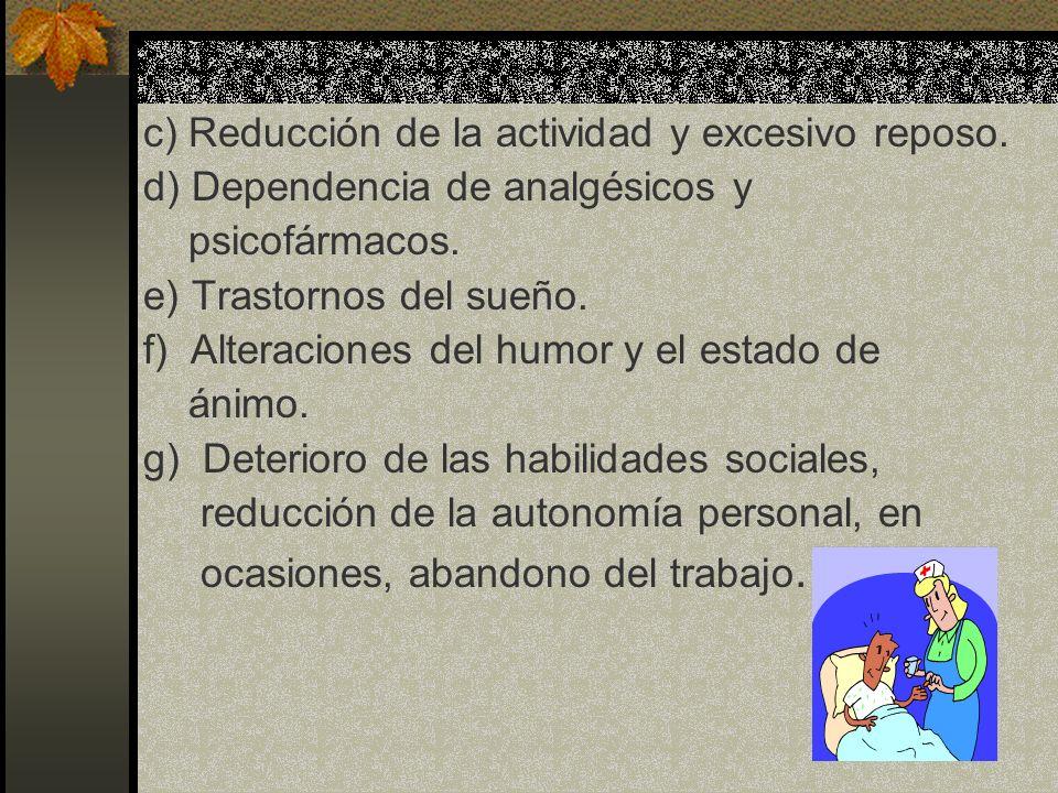 c) Reducción de la actividad y excesivo reposo.d) Dependencia de analgésicos y psicofármacos.