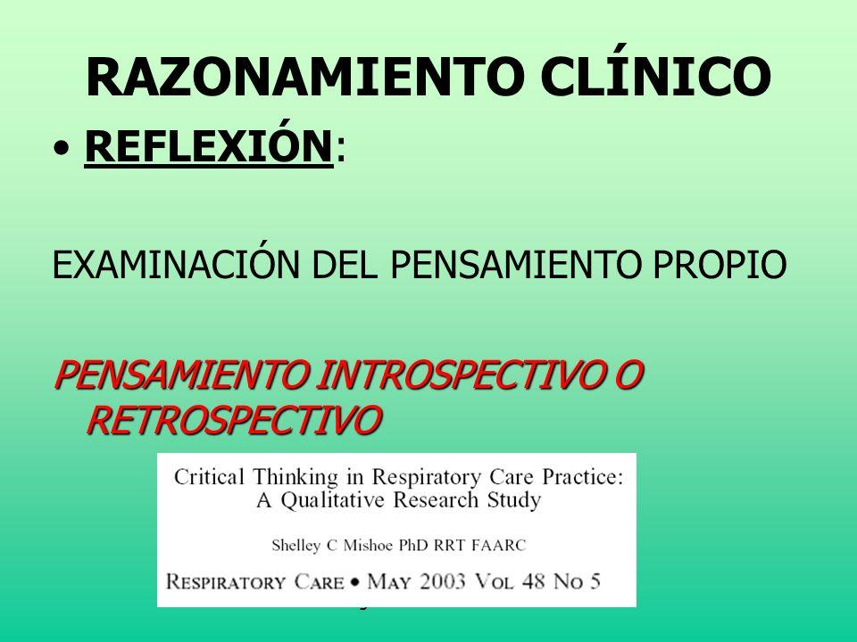 Klgo. José Landeros S. RAZONAMIENTO CLÍNICO REFLEXIÓN: EXAMINACIÓN DEL PENSAMIENTO PROPIO PENSAMIENTO INTROSPECTIVO O RETROSPECTIVO