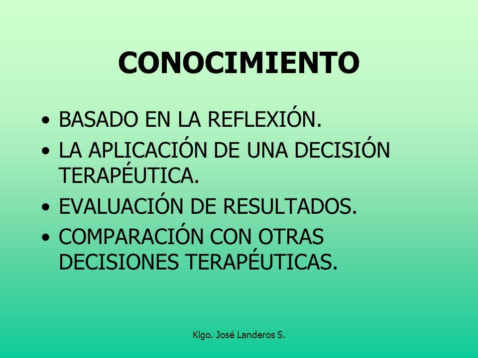 Klgo. José Landeros S. CONOCIMIENTO BASADO EN LA REFLEXIÓN. LA APLICACIÓN DE UNA DECISIÓN TERAPÉUTICA. EVALUACIÓN DE RESULTADOS. COMPARACIÓN CON OTRAS