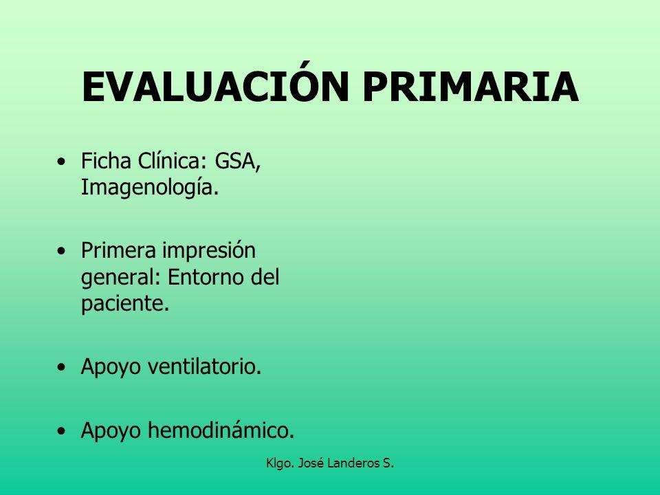Klgo. José Landeros S. EVALUACIÓN PRIMARIA Ficha Clínica: GSA, Imagenología. Primera impresión general: Entorno del paciente. Apoyo ventilatorio. Apoy