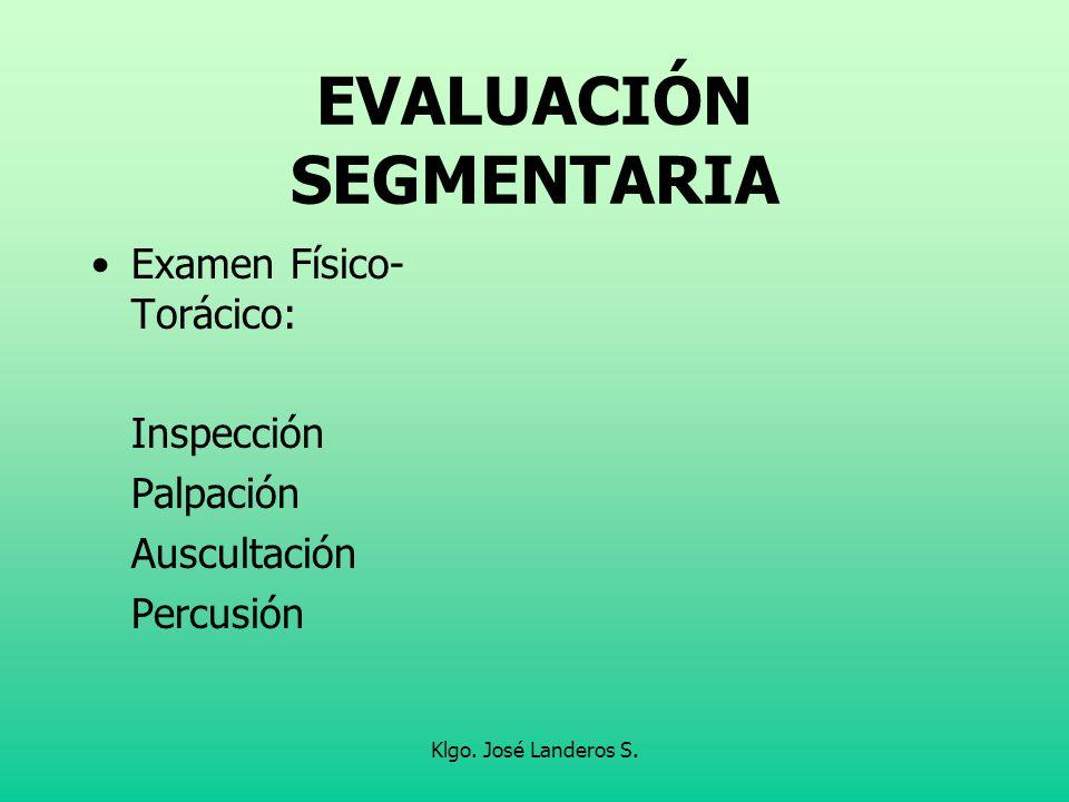 Klgo. José Landeros S. EVALUACIÓN SEGMENTARIA Examen Físico- Torácico: Inspección Palpación Auscultación Percusión