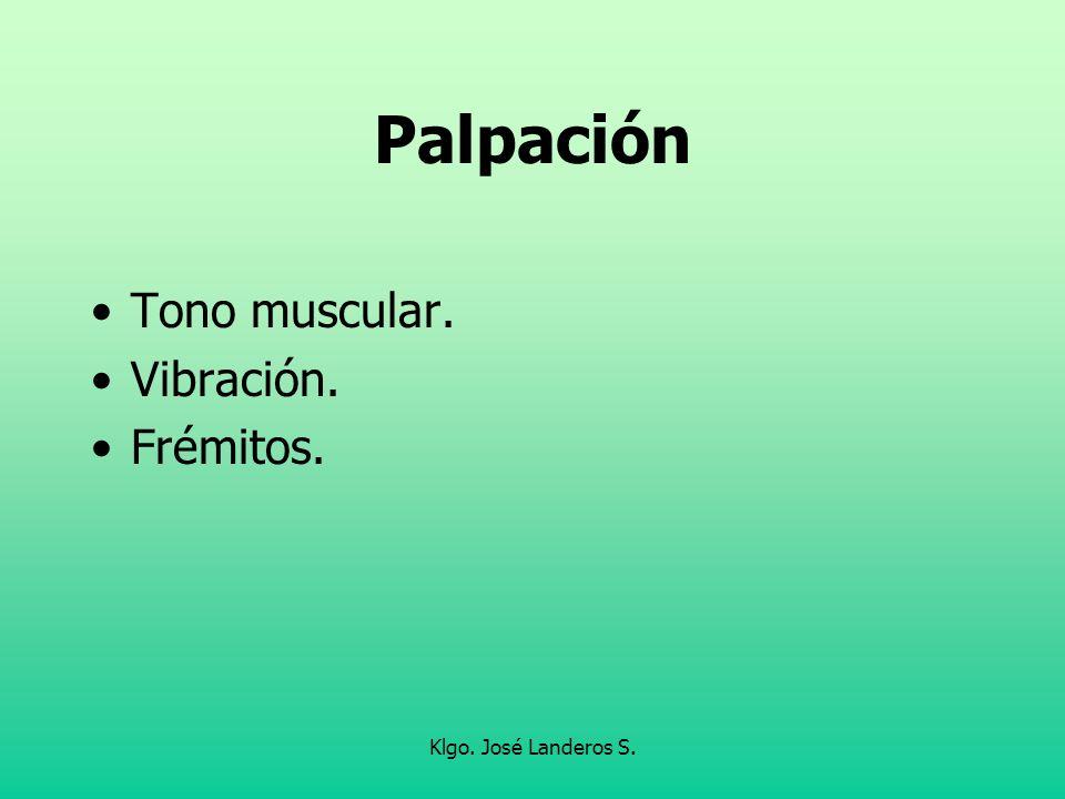 Klgo. José Landeros S. Palpación Tono muscular. Vibración. Frémitos.