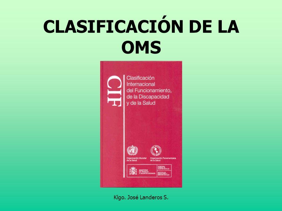 Klgo. José Landeros S. CLASIFICACIÓN DE LA OMS