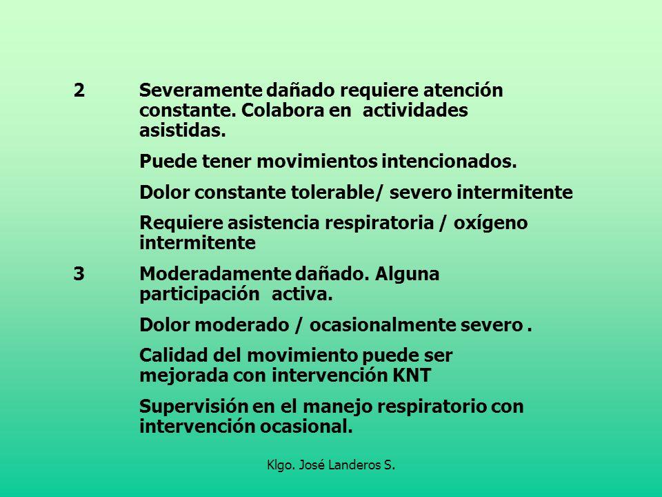 Klgo. José Landeros S. 2Severamente dañado requiere atención constante. Colabora en actividades asistidas. Puede tener movimientos intencionados. Dolo