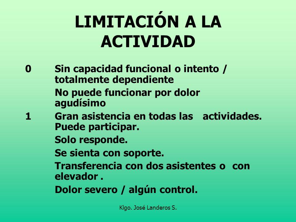 Klgo. José Landeros S. LIMITACIÓN A LA ACTIVIDAD 0Sin capacidad funcional o intento / totalmente dependiente No puede funcionar por dolor agudísimo 1G