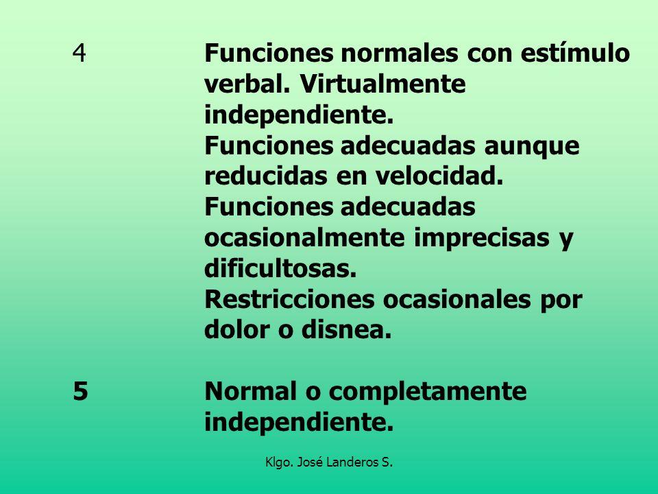 Klgo. José Landeros S. 4Funciones normales con estímulo verbal. Virtualmente independiente. Funciones adecuadas aunque reducidas en velocidad. Funcion