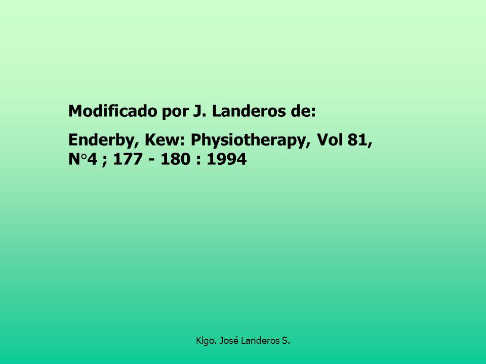 Klgo. José Landeros S. Modificado por J. Landeros de: Enderby, Kew: Physiotherapy, Vol 81, N°4 ; 177 - 180 : 1994