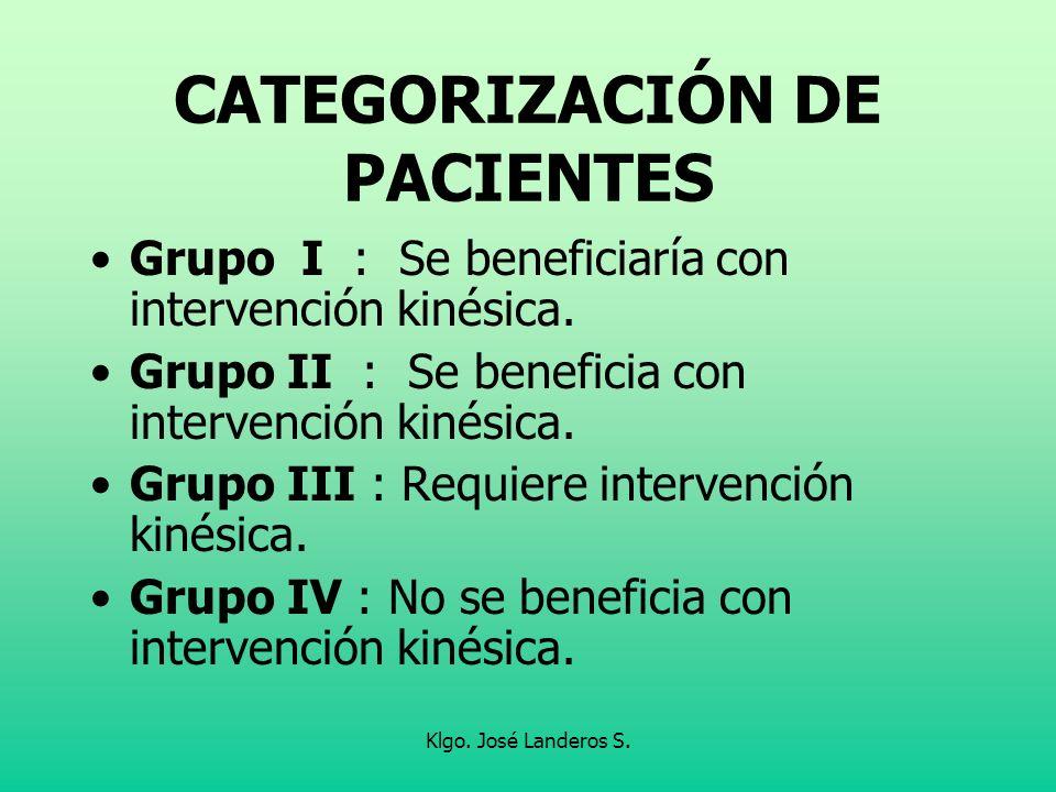 Klgo. José Landeros S. CATEGORIZACIÓN DE PACIENTES Grupo I : Se beneficiaría con intervención kinésica. Grupo II : Se beneficia con intervención kinés