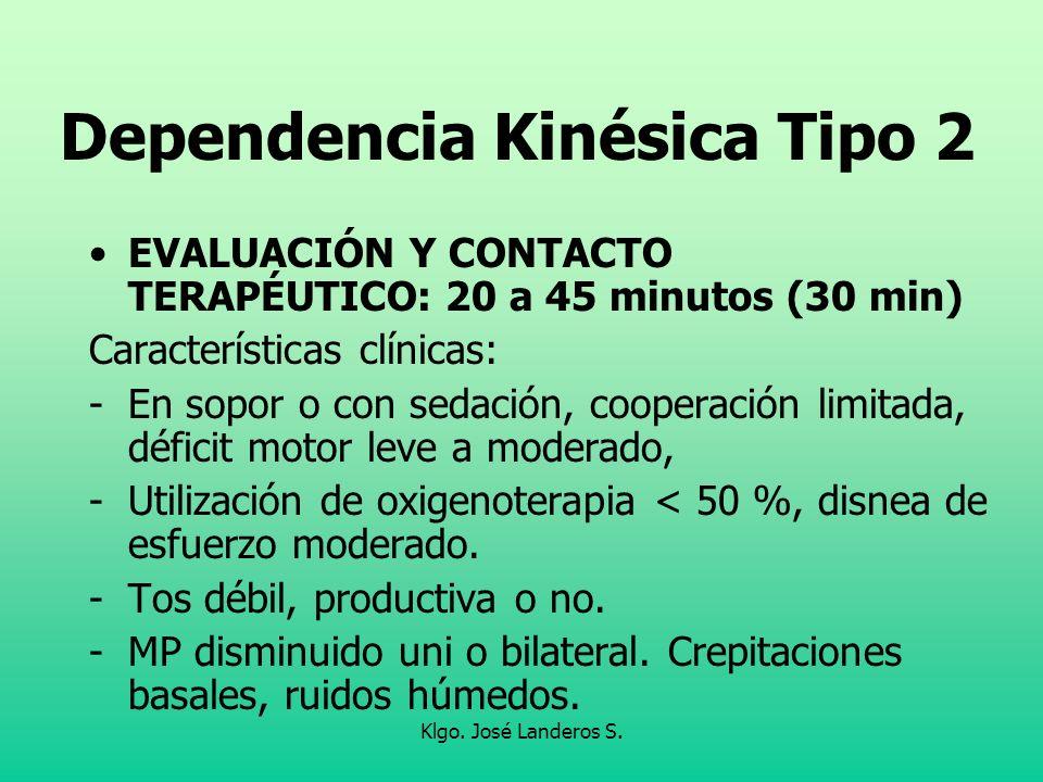 Klgo. José Landeros S. Dependencia Kinésica Tipo 2 EVALUACIÓN Y CONTACTO TERAPÉUTICO: 20 a 45 minutos (30 min) Características clínicas: -En sopor o c