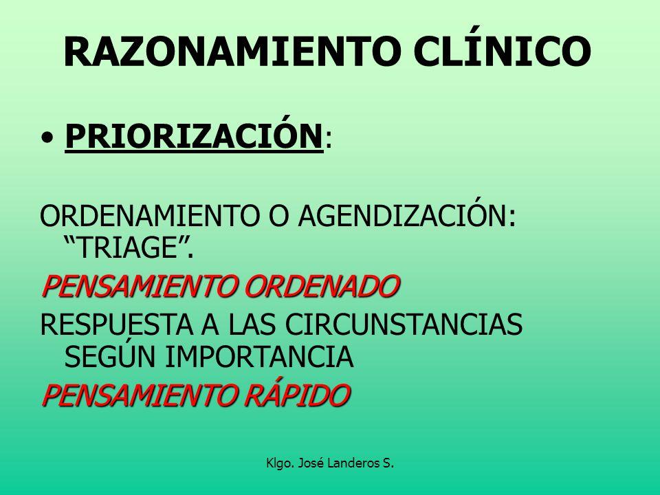 Klgo. José Landeros S. RAZONAMIENTO CLÍNICO PRIORIZACIÓN : ORDENAMIENTO O AGENDIZACIÓN: TRIAGE. PENSAMIENTO ORDENADO RESPUESTA A LAS CIRCUNSTANCIAS SE