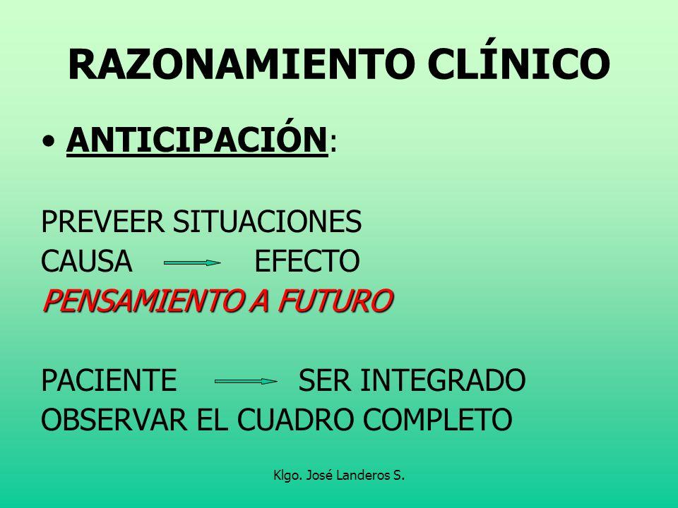 Klgo. José Landeros S. RAZONAMIENTO CLÍNICO ANTICIPACIÓN : PREVEER SITUACIONES CAUSA EFECTO PENSAMIENTO A FUTURO PACIENTE SER INTEGRADO OBSERVAR EL CU