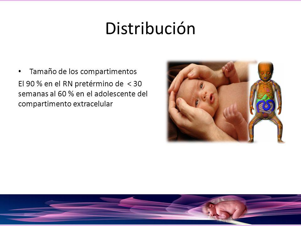 Distribución Tamaño de los compartimentos El 90 % en el RN pretérmino de < 30 semanas al 60 % en el adolescente del compartimento extracelular
