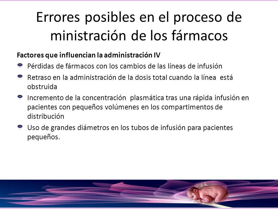 Errores posibles en el proceso de ministración de los fármacos Factores que influencian la administración IV Pérdidas de fármacos con los cambios de l