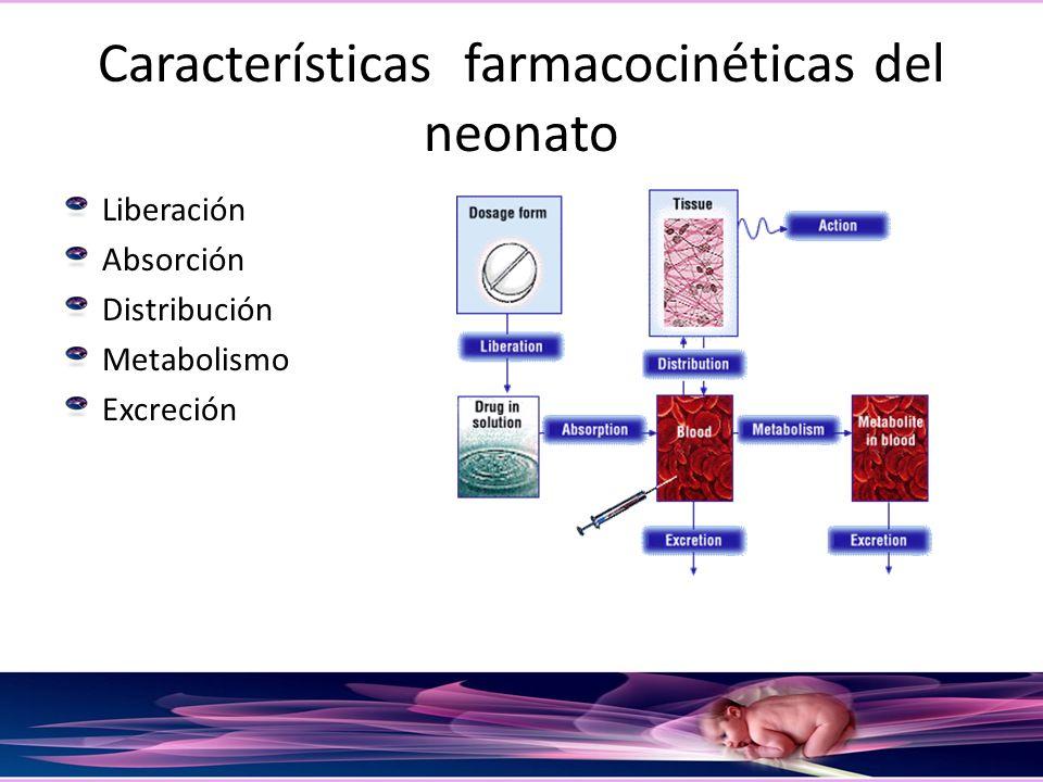 Características farmacocinéticas del neonato Liberación Absorción Distribución Metabolismo Excreción