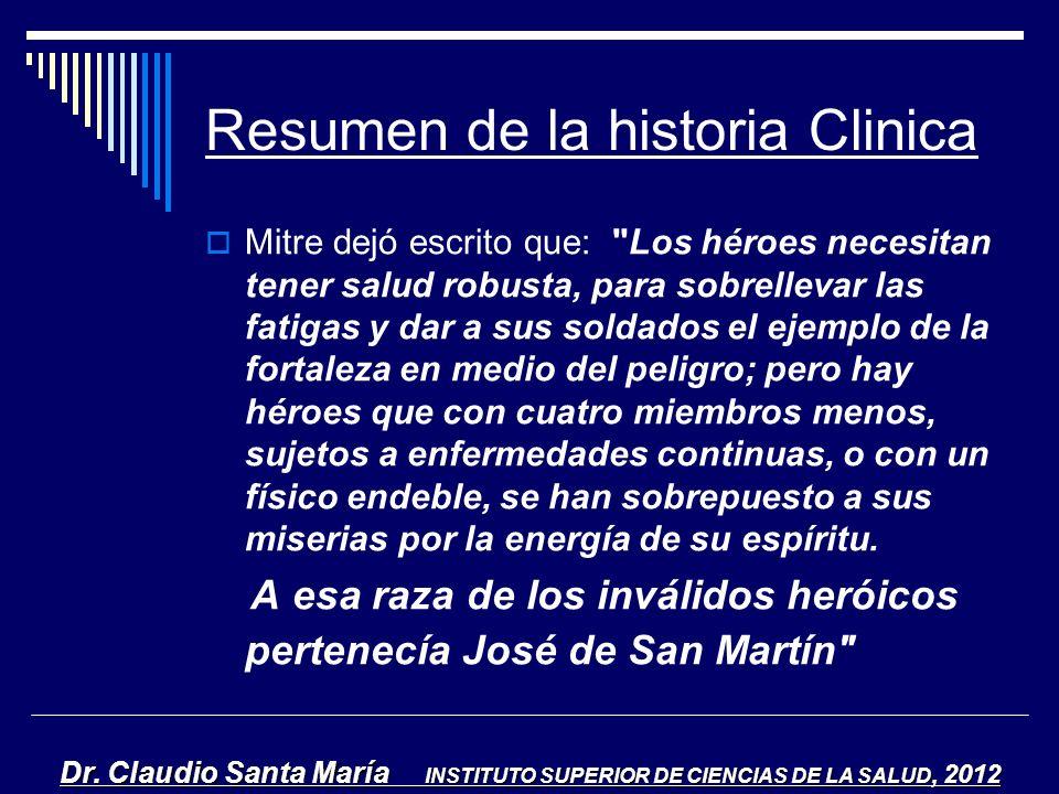 Resumen de la historia Clinica Mitre dejó escrito que: