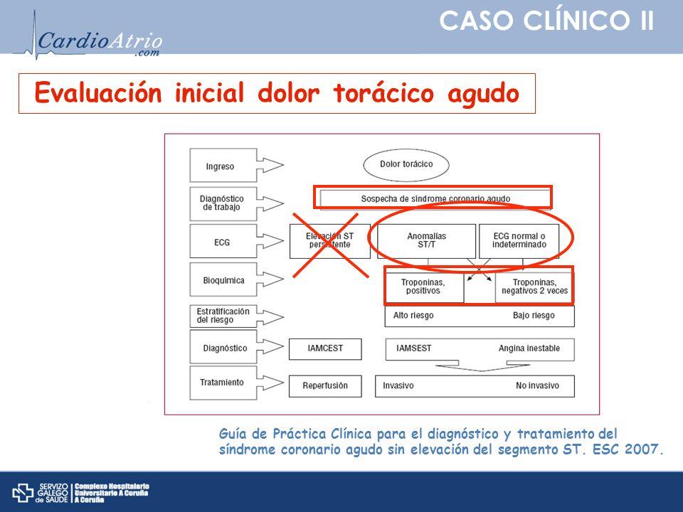 CASO CLÍNICO II Guía de Práctica Clínica para el diagnóstico y tratamiento del síndrome coronario agudo sin elevación del segmento ST. ESC 2007. Evalu
