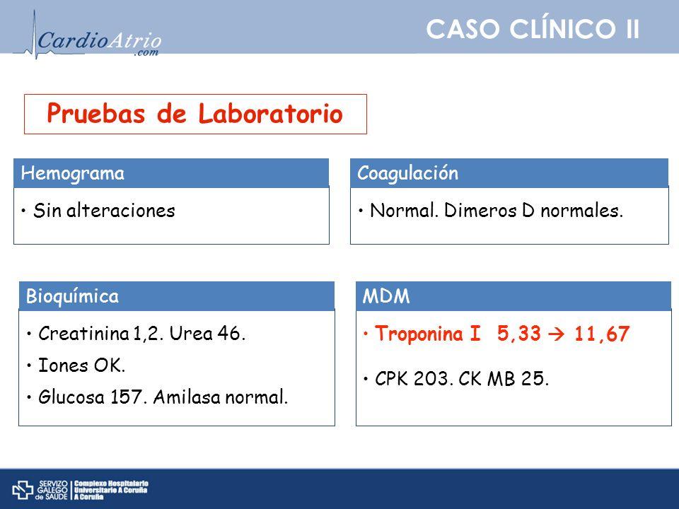 CASO CLÍNICO II Pruebas de Laboratorio Sin alteraciones Hemograma Normal. Dimeros D normales. Coagulación Creatinina 1,2. Urea 46. Iones OK. Glucosa 1