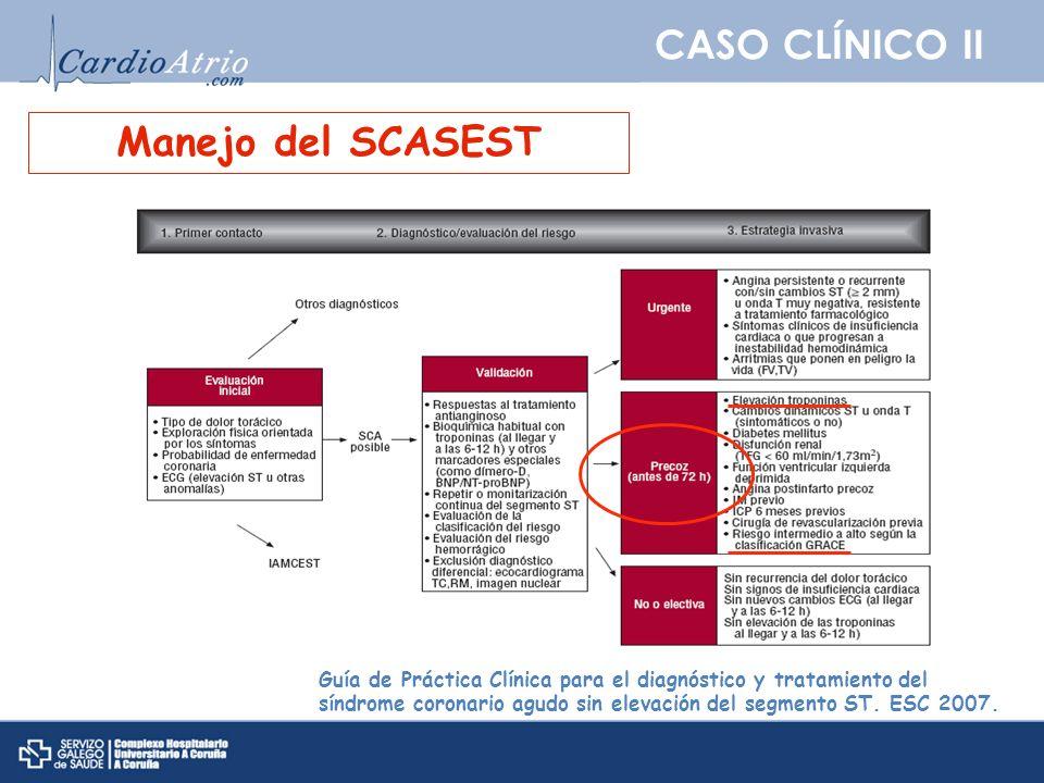 CASO CLÍNICO II Guía de Práctica Clínica para el diagnóstico y tratamiento del síndrome coronario agudo sin elevación del segmento ST. ESC 2007. Manej