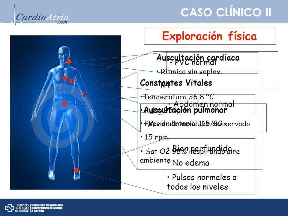 CASO CLÍNICO II Exploración física Constantes Vitales Temperatura 36,8 ºC Pulso 95 lpm Presión arterial 115/80 15 rpm. Sat O2 98% respirando aire ambi