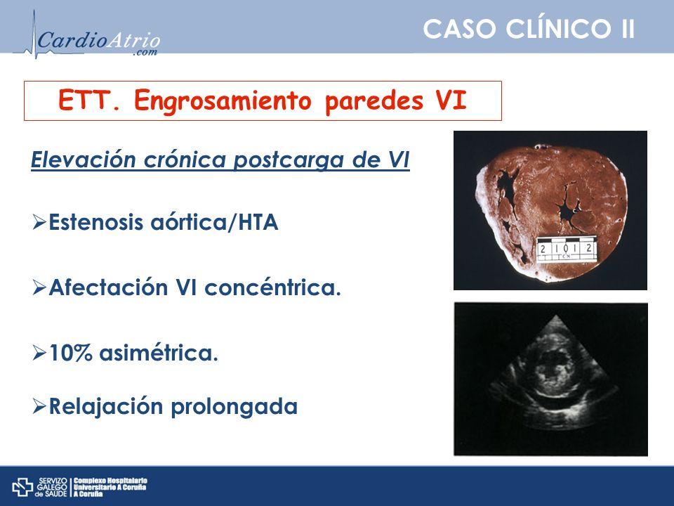 CASO CLÍNICO II ETT. Engrosamiento paredes VI Elevación crónica postcarga de VI Estenosis aórtica/HTA Afectación VI concéntrica. 10% asimétrica. Relaj