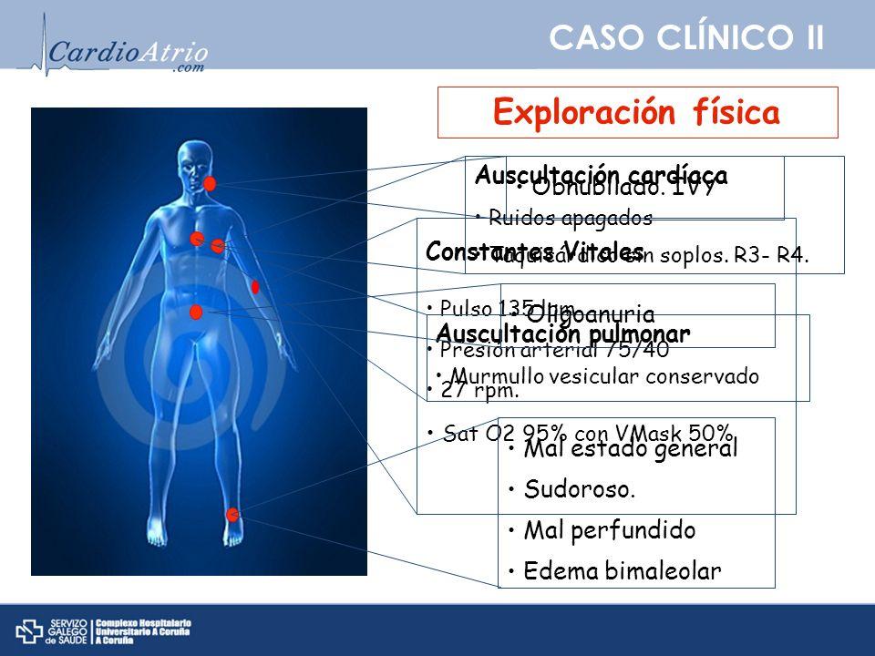 CASO CLÍNICO II Exploración física Constantes Vitales Pulso 135 lpm Presión arterial 75/40 27 rpm. Sat O2 95% con VMask 50% Auscultación cardíaca Ruid
